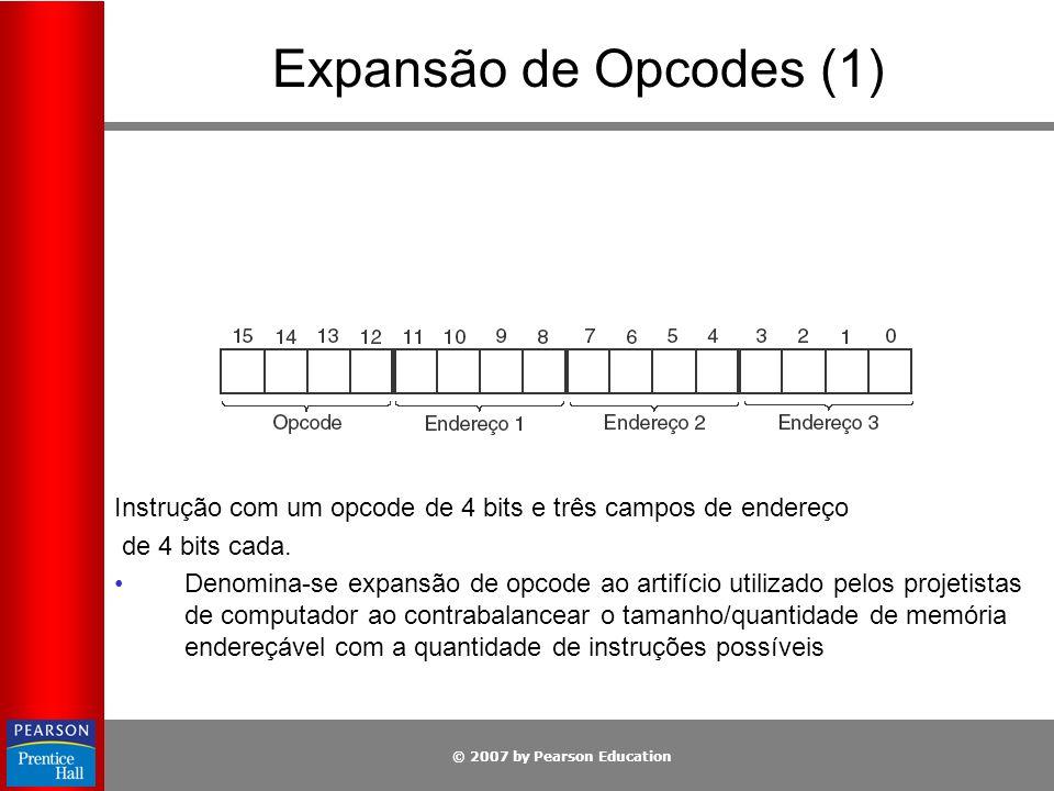 Expansão de Opcodes (1) Instrução com um opcode de 4 bits e três campos de endereço. de 4 bits cada.