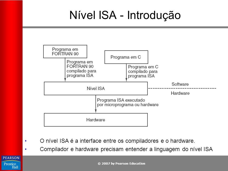 Nível ISA - Introdução O nível ISA é a interface entre os compiladores e o hardware.