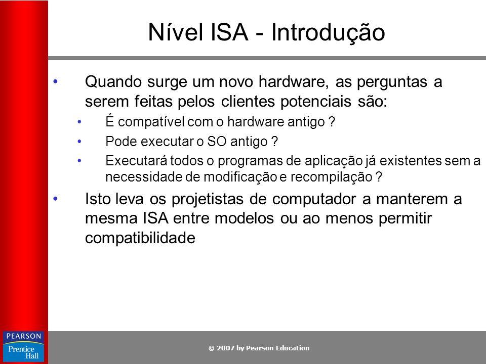 Nível ISA - Introdução Quando surge um novo hardware, as perguntas a serem feitas pelos clientes potenciais são: