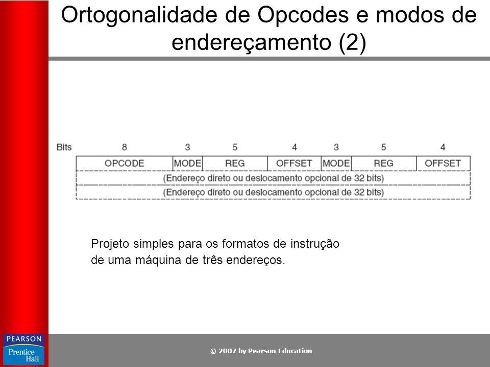 Ortogonalidade de Opcodes e modos de endereçamento (2)