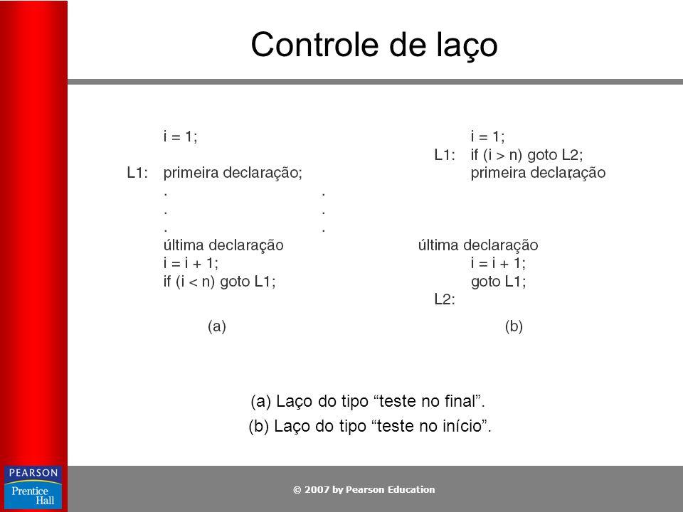 Controle de laço (a) Laço do tipo teste no final .