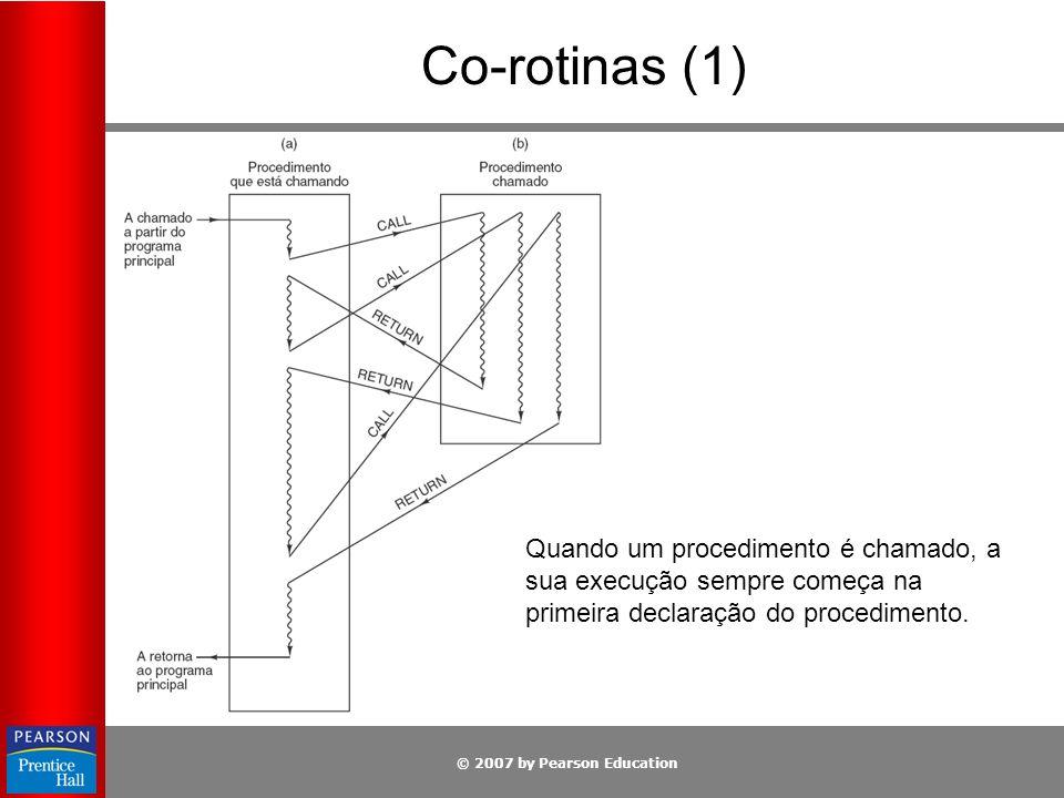 Co-rotinas (1) Quando um procedimento é chamado, a sua execução sempre começa na primeira declaração do procedimento.