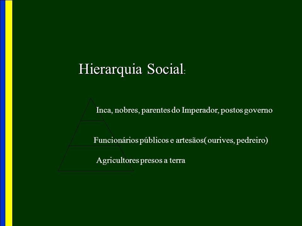 Hierarquia Social: Inca, nobres, parentes do Imperador, postos governo