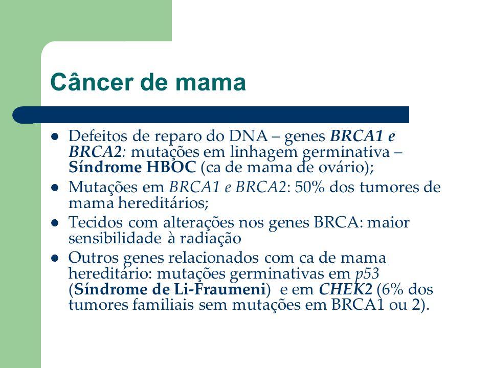 Câncer de mama Defeitos de reparo do DNA – genes BRCA1 e BRCA2: mutações em linhagem germinativa – Síndrome HBOC (ca de mama de ovário);