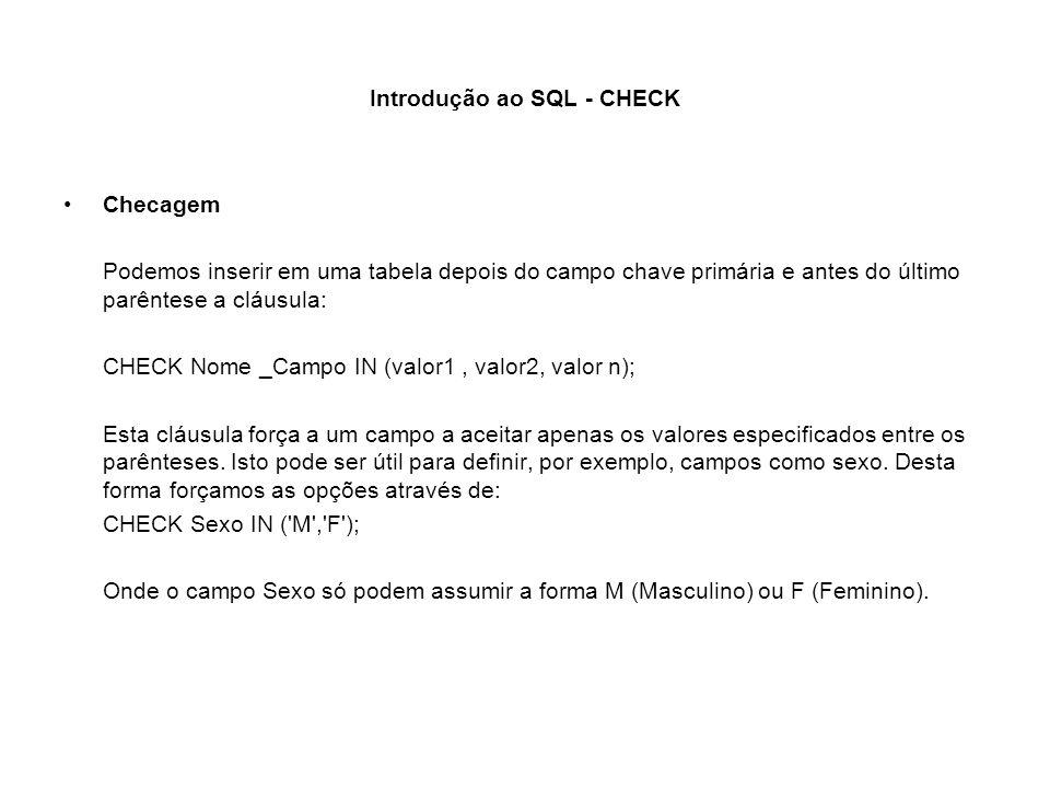 Introdução ao SQL - CHECK