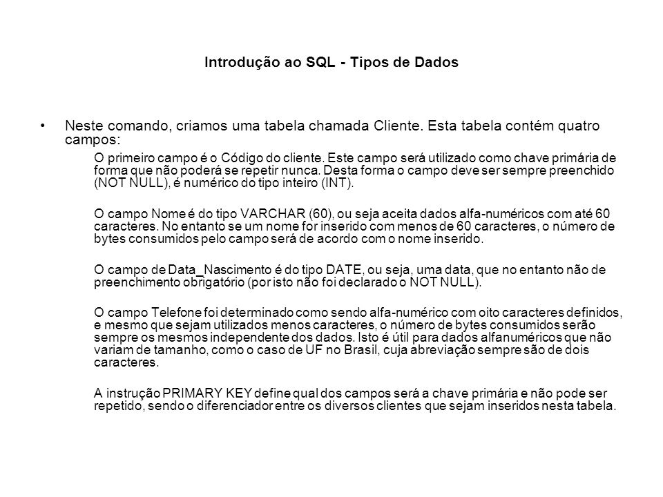 Introdução ao SQL - Tipos de Dados