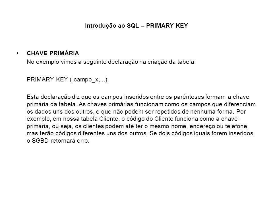 Introdução ao SQL – PRIMARY KEY