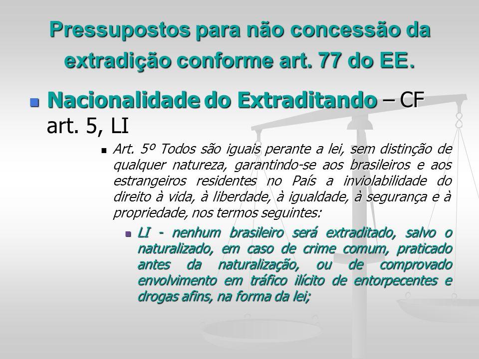 Pressupostos para não concessão da extradição conforme art. 77 do EE.