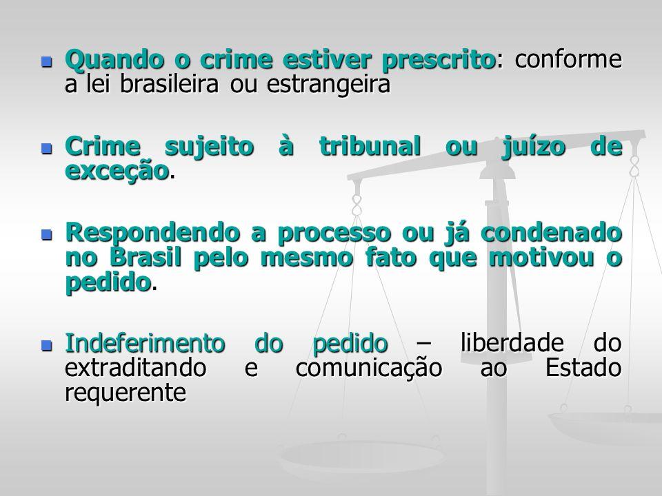 Quando o crime estiver prescrito: conforme a lei brasileira ou estrangeira