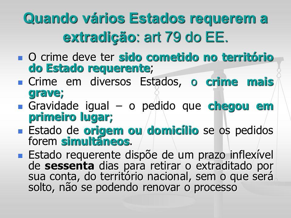 Quando vários Estados requerem a extradição: art 79 do EE.