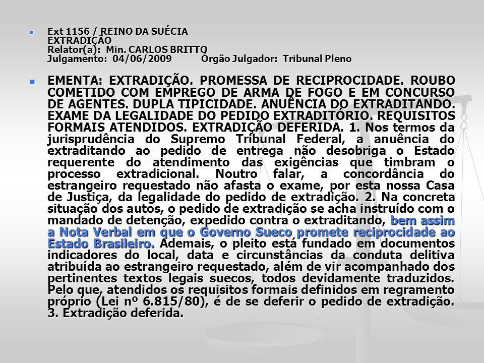 Ext 1156 / REINO DA SUÉCIA EXTRADIÇÃO Relator(a): Min