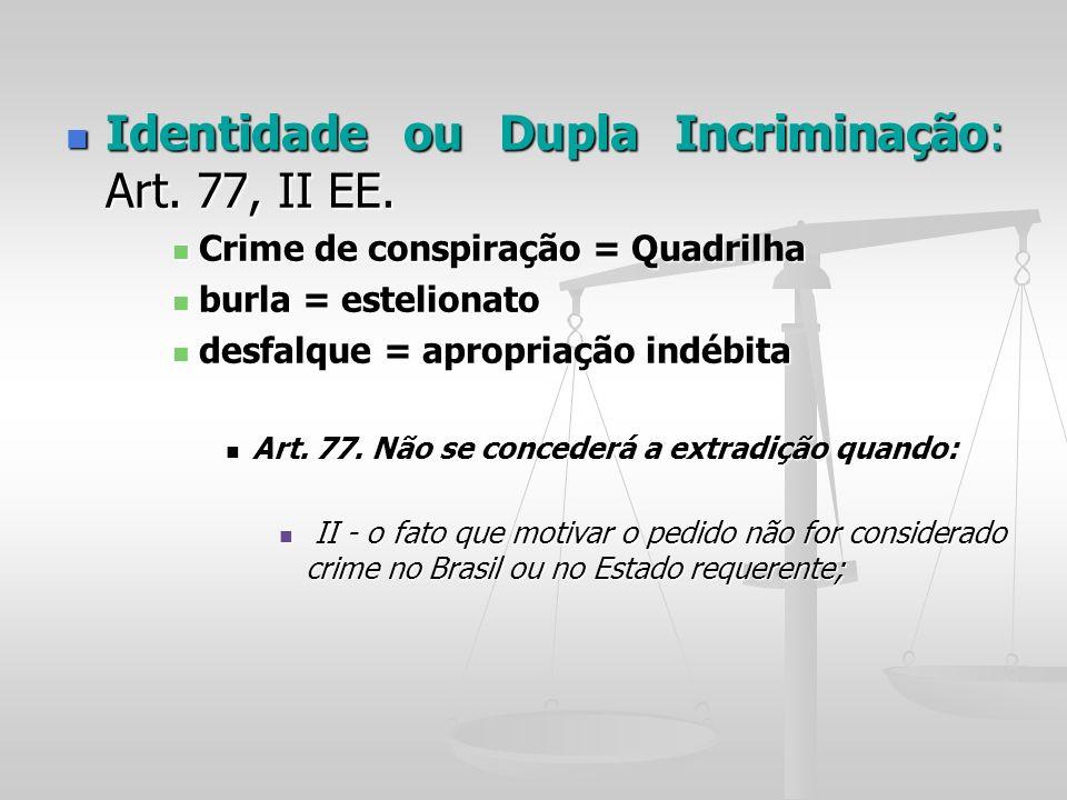 Identidade ou Dupla Incriminação: Art. 77, II EE.