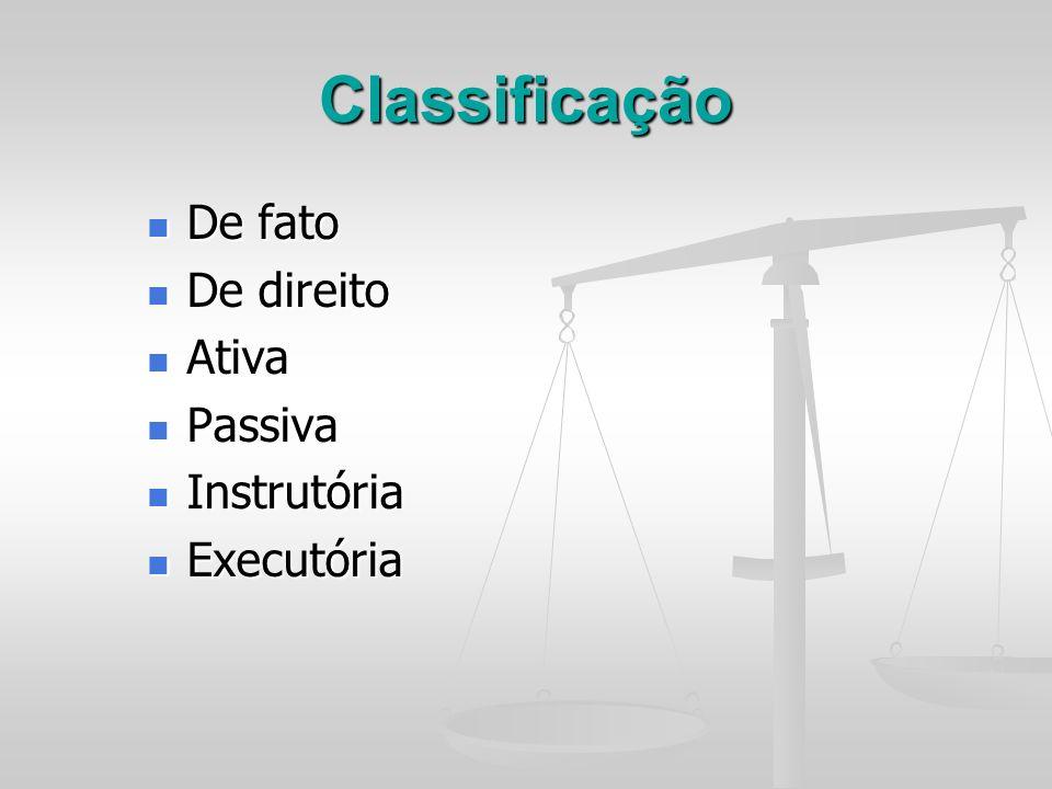 Classificação De fato De direito Ativa Passiva Instrutória Executória
