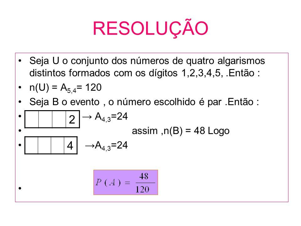 RESOLUÇÃO Seja U o conjunto dos números de quatro algarismos distintos formados com os dígitos 1,2,3,4,5, .Então :