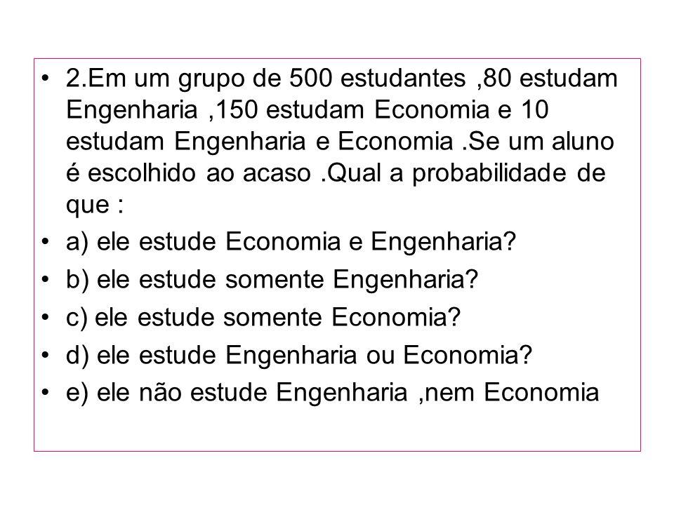 2.Em um grupo de 500 estudantes ,80 estudam Engenharia ,150 estudam Economia e 10 estudam Engenharia e Economia .Se um aluno é escolhido ao acaso .Qual a probabilidade de que :