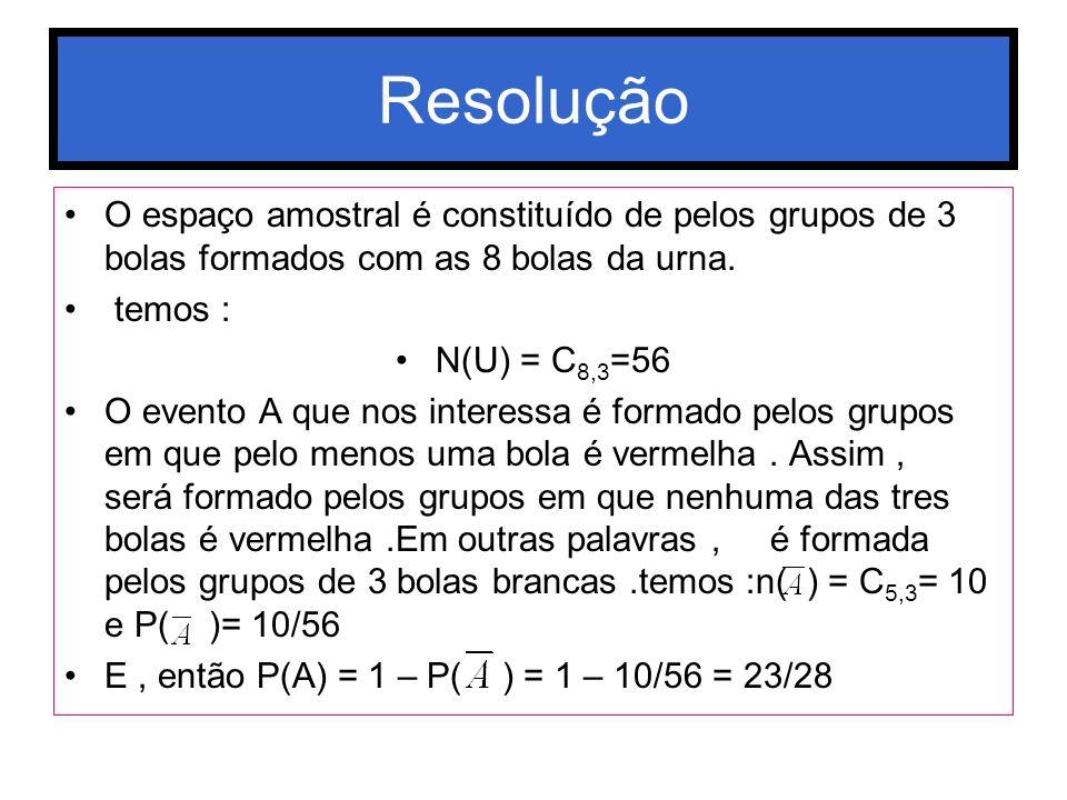 Resolução O espaço amostral é constituído de pelos grupos de 3 bolas formados com as 8 bolas da urna.