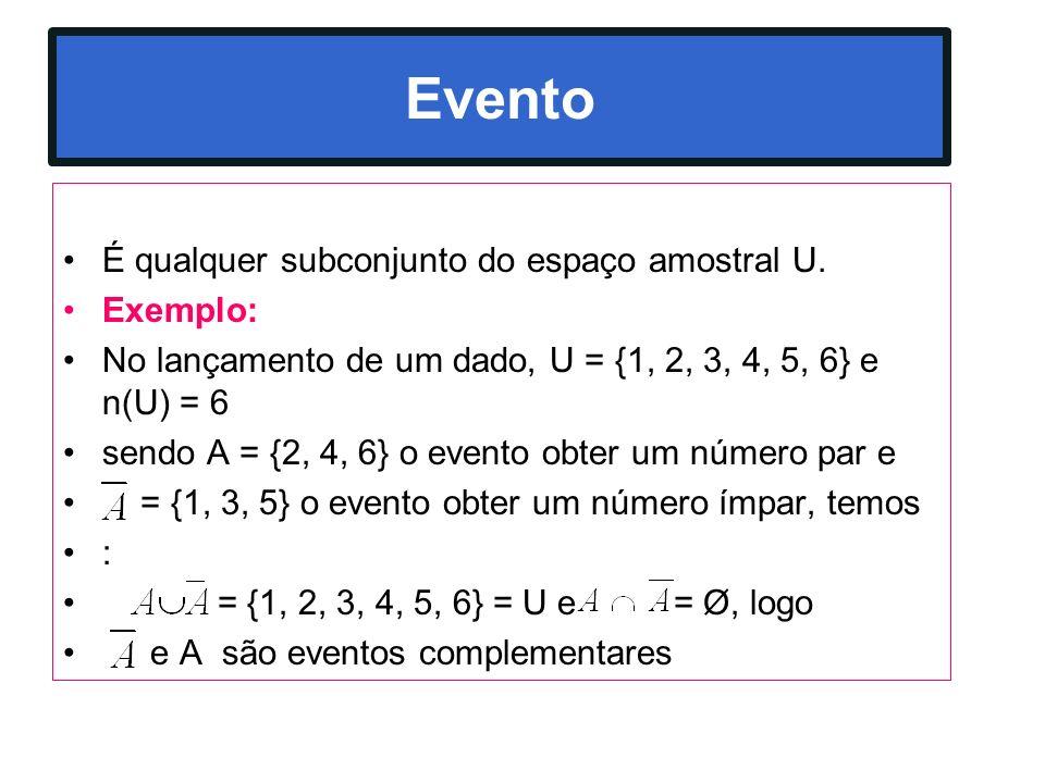 Evento É qualquer subconjunto do espaço amostral U. Exemplo: