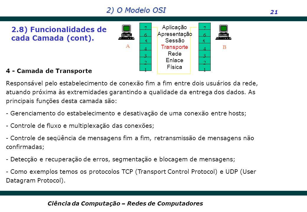 2.8) Funcionalidades de cada Camada (cont).
