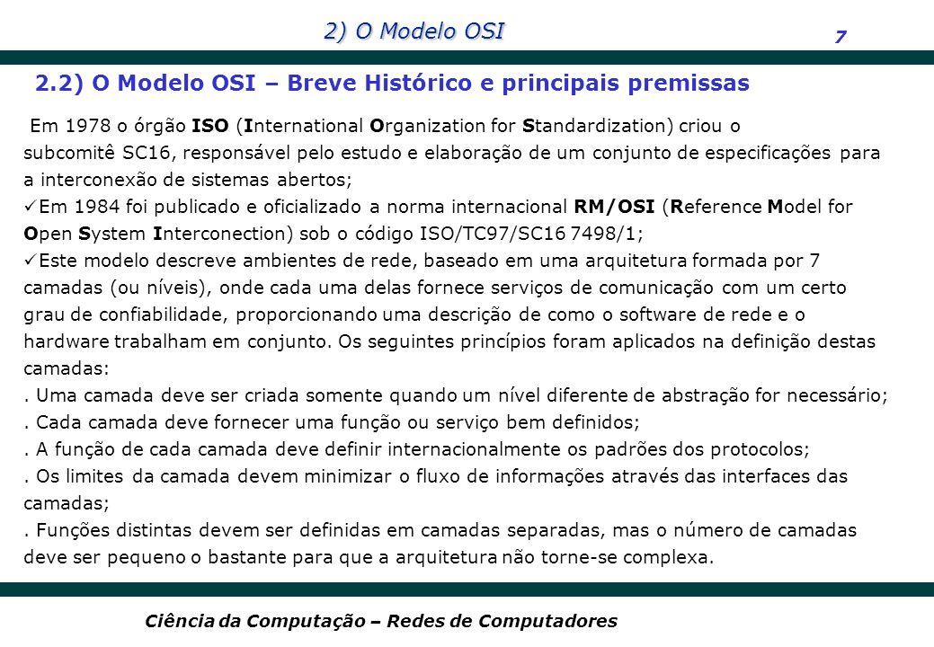 2.2) O Modelo OSI – Breve Histórico e principais premissas