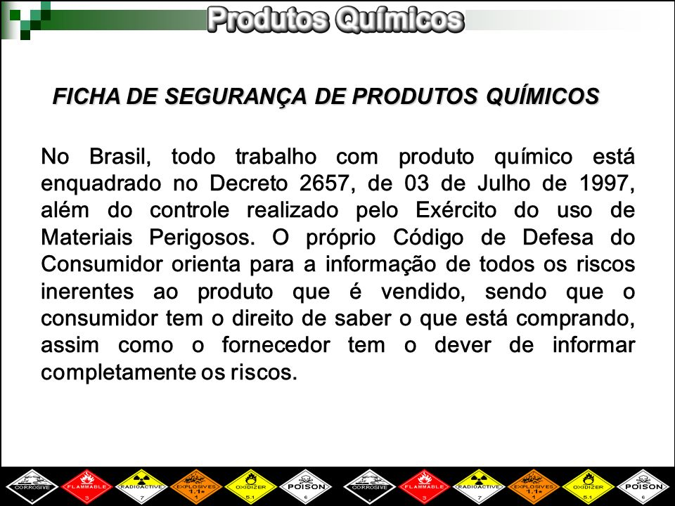 FICHA DE SEGURANÇA DE PRODUTOS QUÍMICOS
