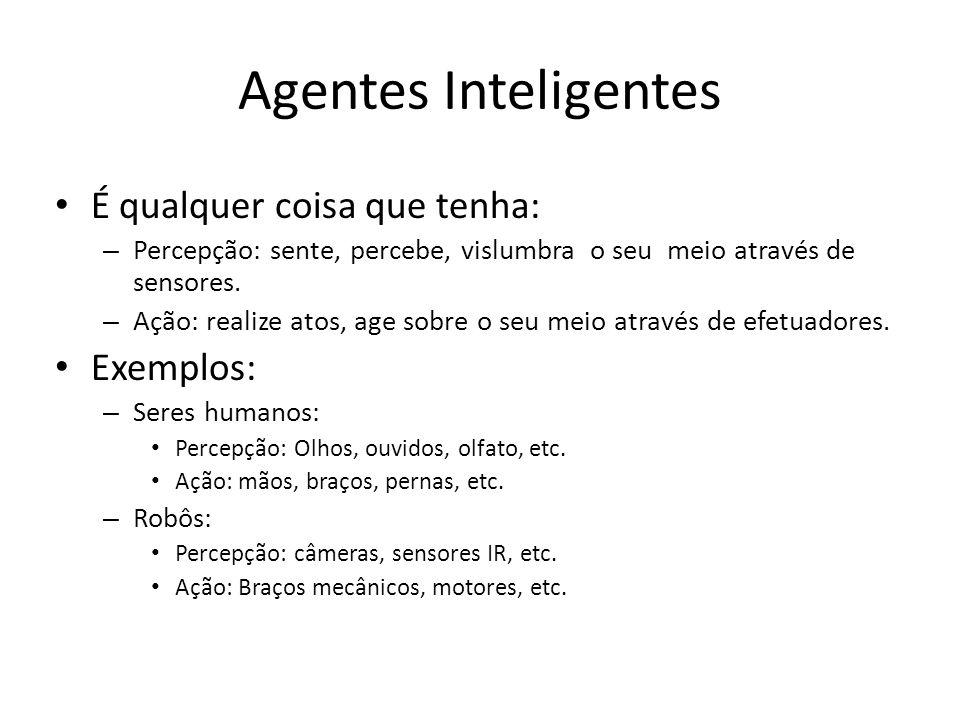 Agentes Inteligentes É qualquer coisa que tenha: Exemplos: