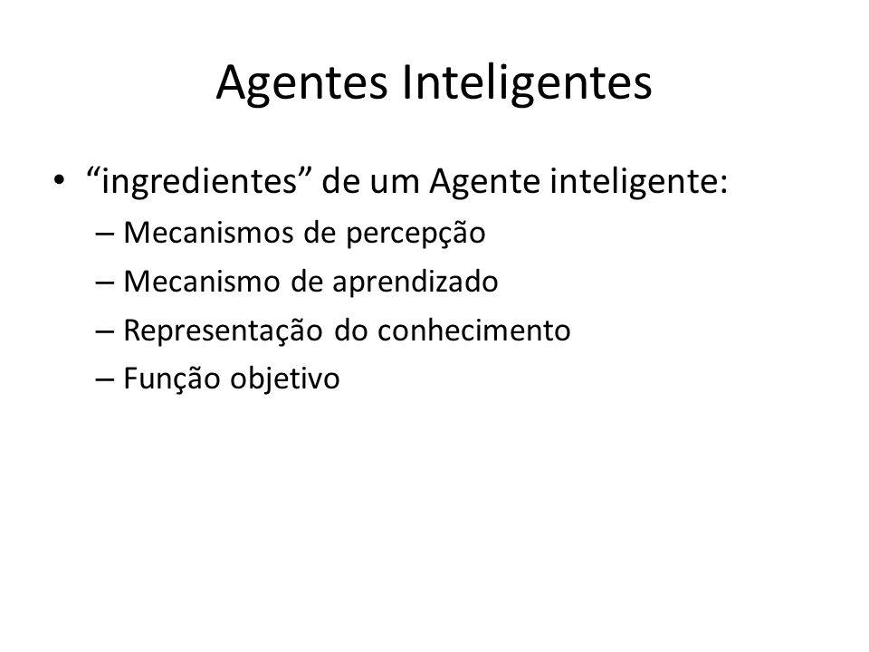 Agentes Inteligentes ingredientes de um Agente inteligente: