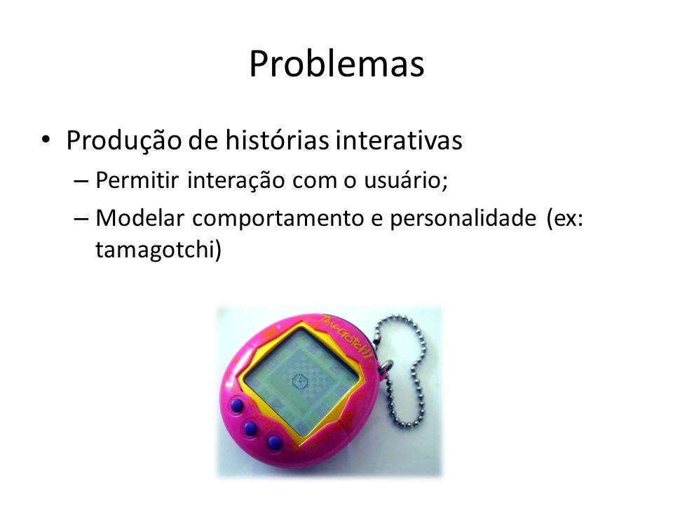 Problemas Produção de histórias interativas