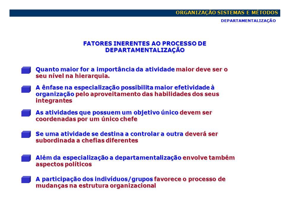 FATORES INERENTES AO PROCESSO DE DEPARTAMENTALIZAÇÃO