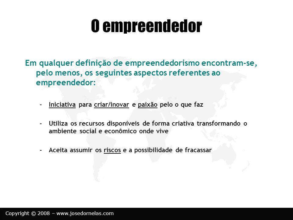 O empreendedorEm qualquer definição de empreendedorismo encontram-se, pelo menos, os seguintes aspectos referentes ao empreendedor: