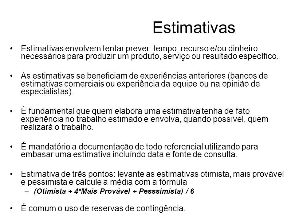 Estimativas Estimativas envolvem tentar prever tempo, recurso e/ou dinheiro necessários para produzir um produto, serviço ou resultado específico.