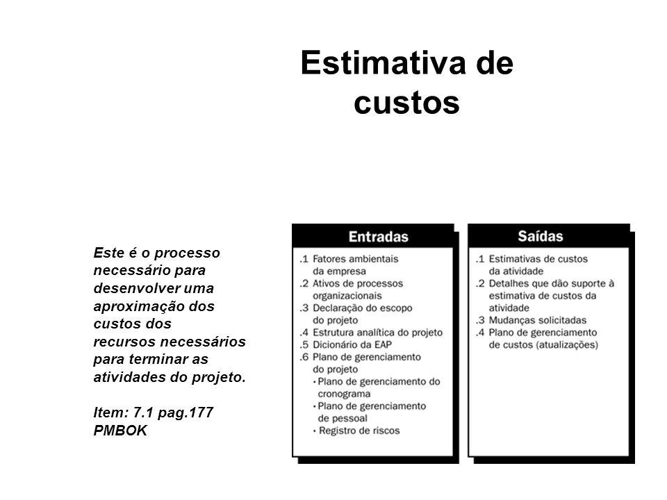 Estimativa de custos Este é o processo necessário para desenvolver uma aproximação dos custos dos.