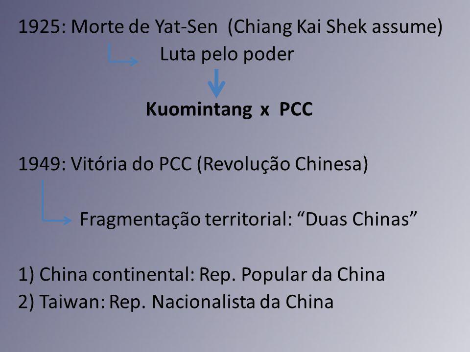1925: Morte de Yat-Sen (Chiang Kai Shek assume) Luta pelo poder Kuomintang x PCC 1949: Vitória do PCC (Revolução Chinesa) Fragmentação territorial: Duas Chinas 1) China continental: Rep.