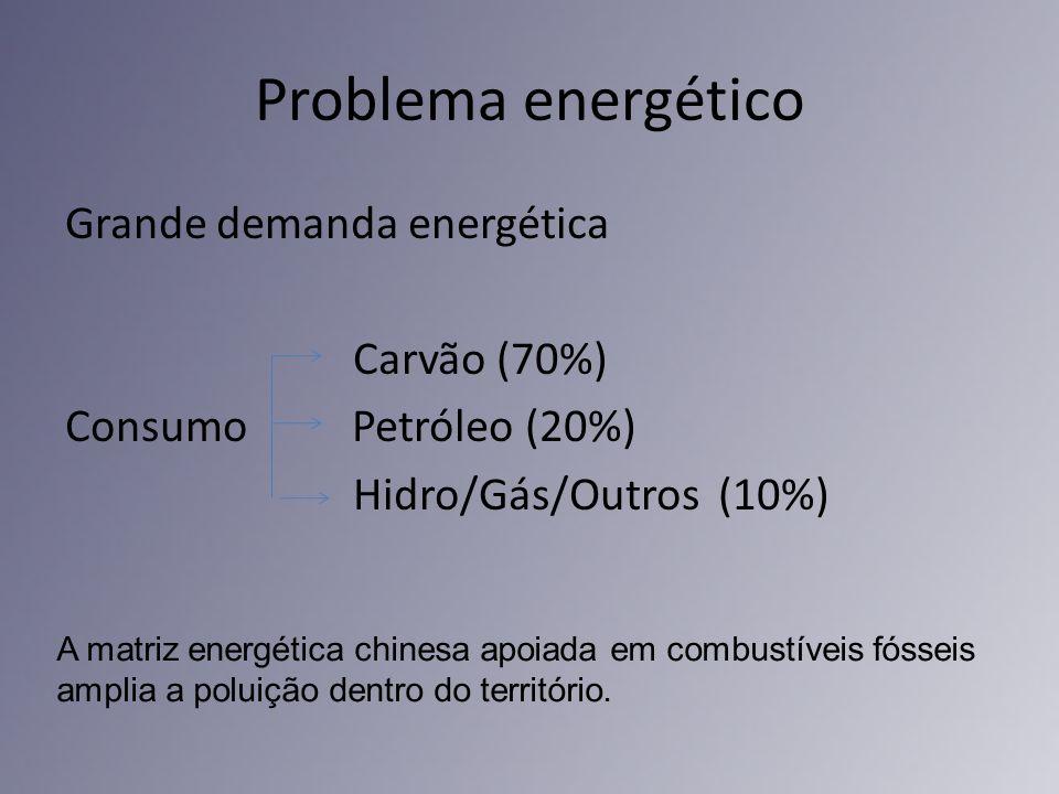 Problema energéticoGrande demanda energética Carvão (70%) Consumo Petróleo (20%) Hidro/Gás/Outros (10%)
