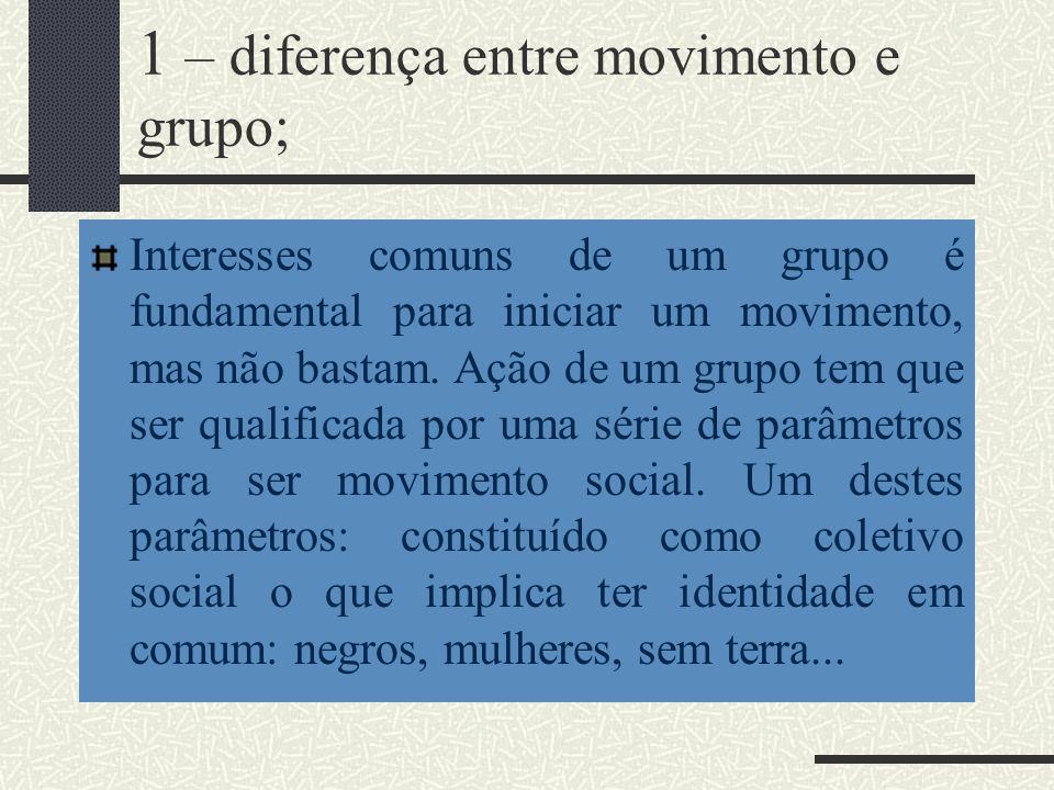 1 – diferença entre movimento e grupo;