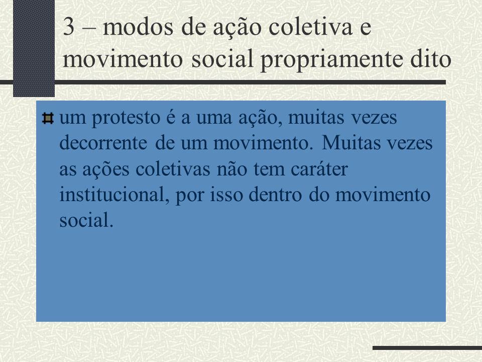 3 – modos de ação coletiva e movimento social propriamente dito
