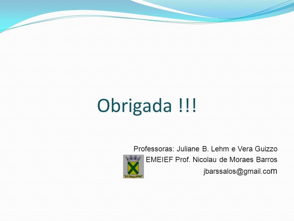 Obrigada !!. Professoras: Juliane B. Lehm e Vera Guizzo EMEIEF Prof.