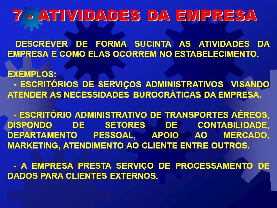 7 - ATIVIDADES DA EMPRESA