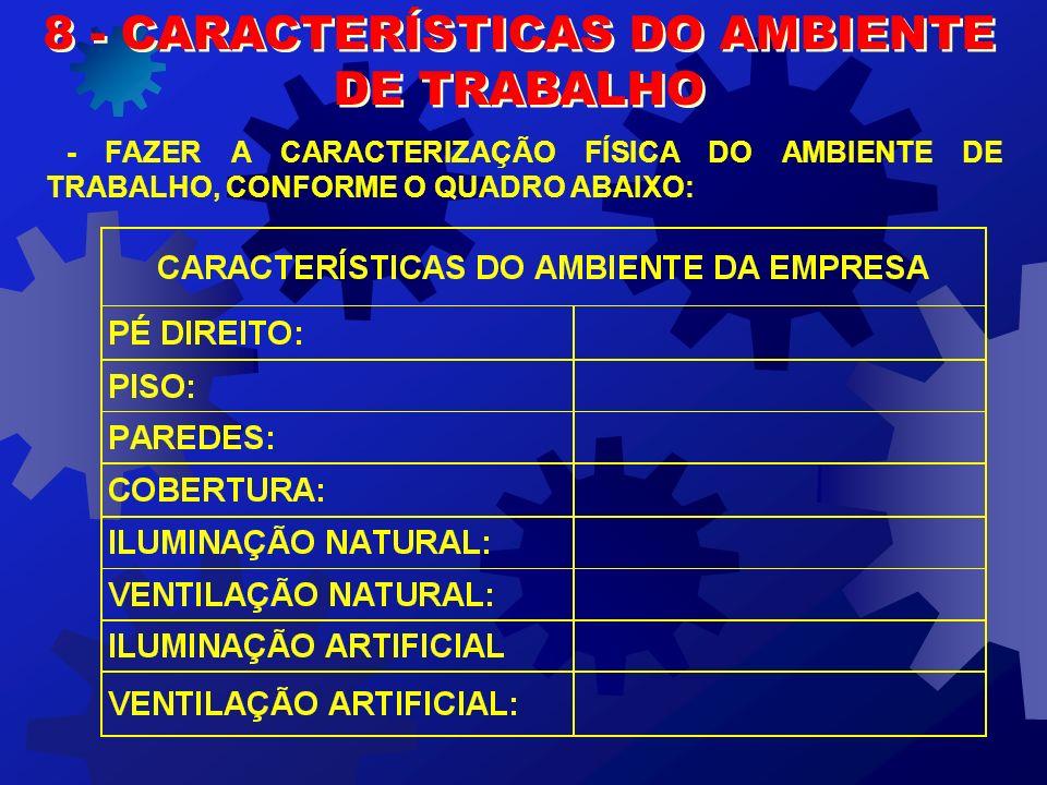 8 - CARACTERÍSTICAS DO AMBIENTE
