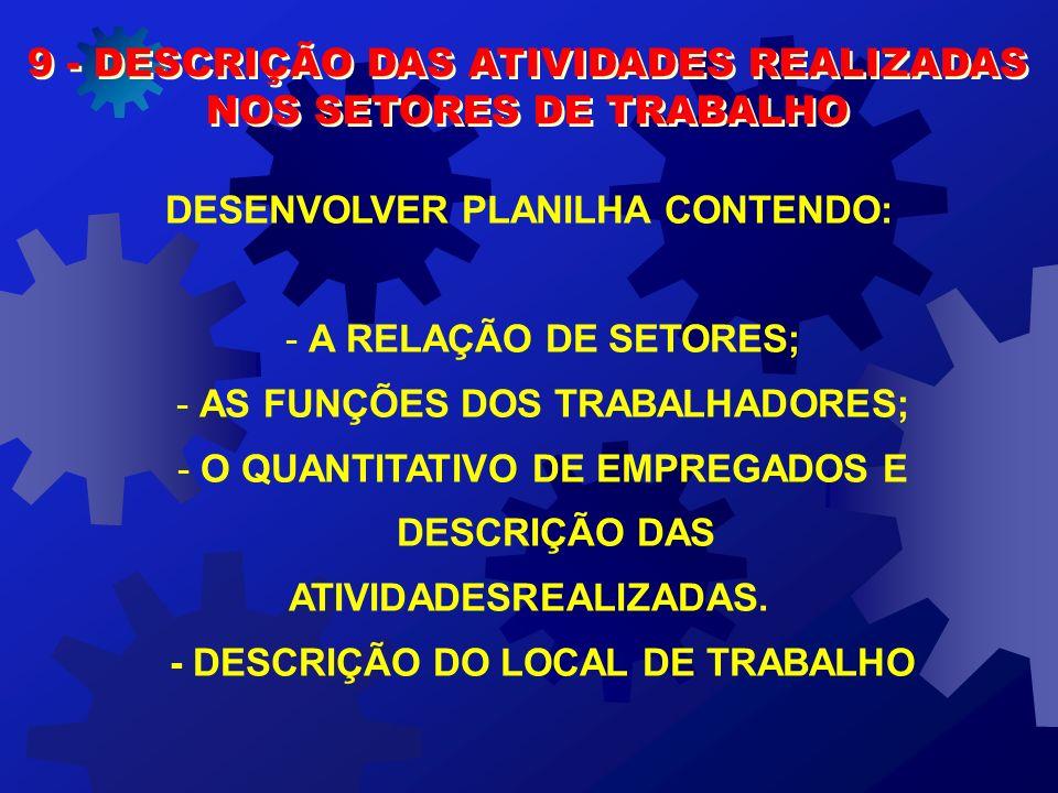 9 - DESCRIÇÃO DAS ATIVIDADES REALIZADAS NOS SETORES DE TRABALHO