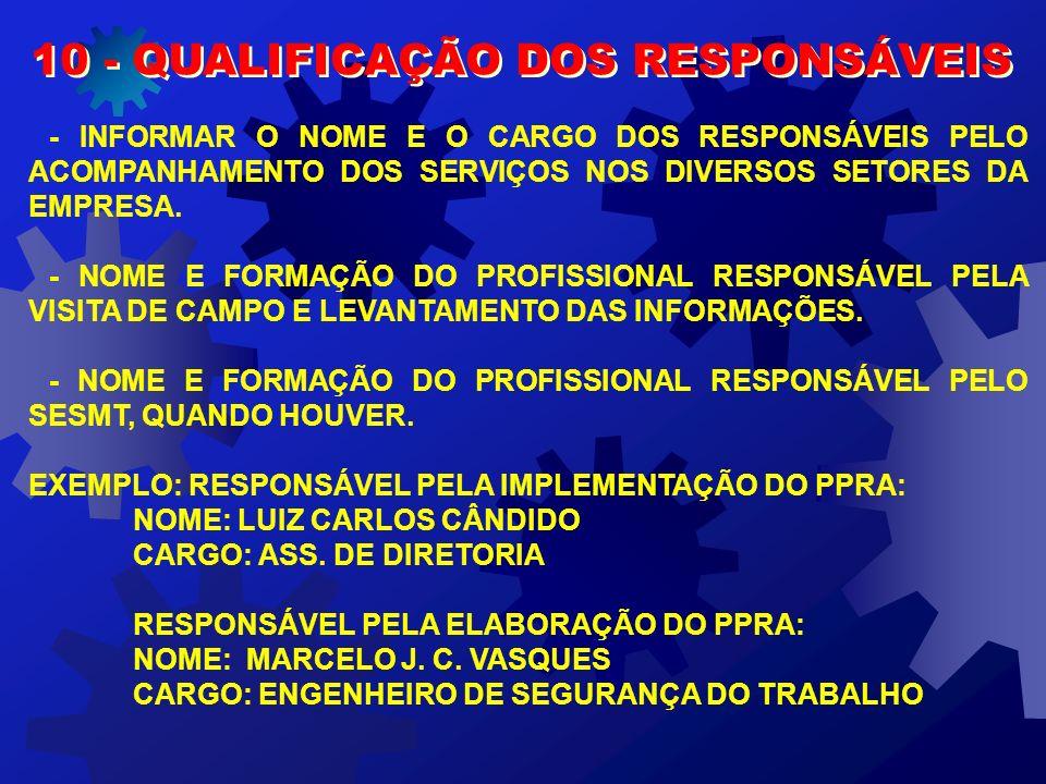 10 - QUALIFICAÇÃO DOS RESPONSÁVEIS