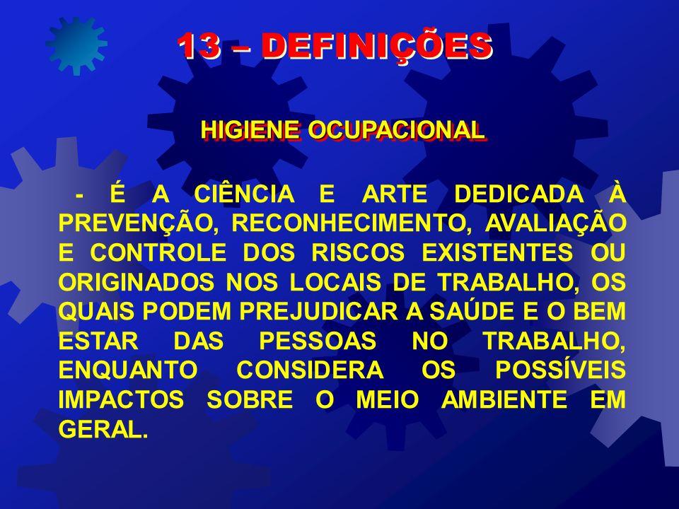 13 – DEFINIÇÕES HIGIENE OCUPACIONAL
