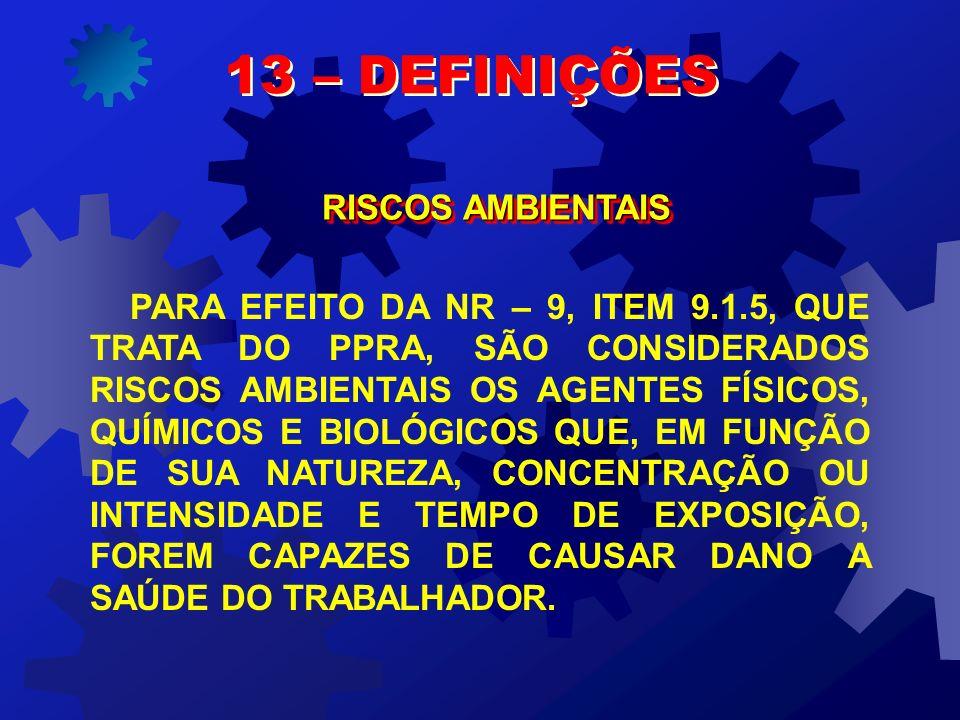 13 – DEFINIÇÕES RISCOS AMBIENTAIS