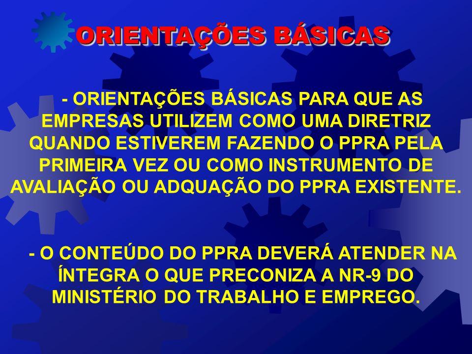 ORIENTAÇÕES BÁSICAS