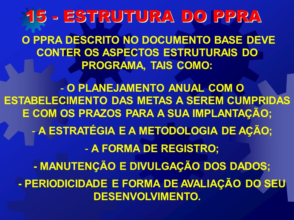 15 - ESTRUTURA DO PPRA O PPRA DESCRITO NO DOCUMENTO BASE DEVE CONTER OS ASPECTOS ESTRUTURAIS DO PROGRAMA, TAIS COMO: