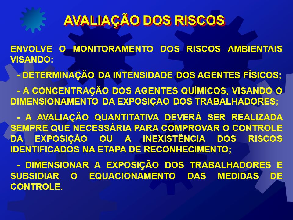AVALIAÇÃO DOS RISCOSENVOLVE O MONITORAMENTO DOS RISCOS AMBIENTAIS VISANDO: - DETERMINAÇÃO DA INTENSIDADE DOS AGENTES FÍSICOS;