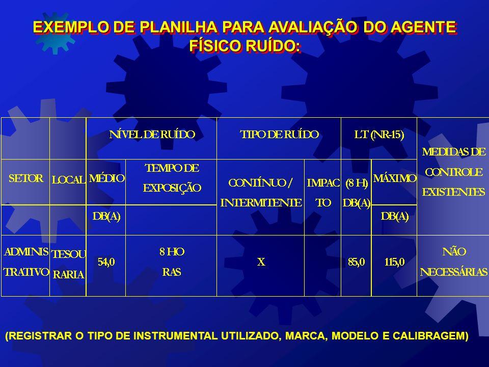 EXEMPLO DE PLANILHA PARA AVALIAÇÃO DO AGENTE FÍSICO RUÍDO: