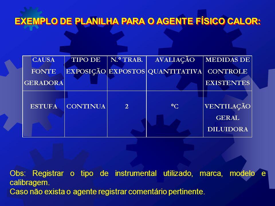 EXEMPLO DE PLANILHA PARA O AGENTE FÍSICO CALOR: