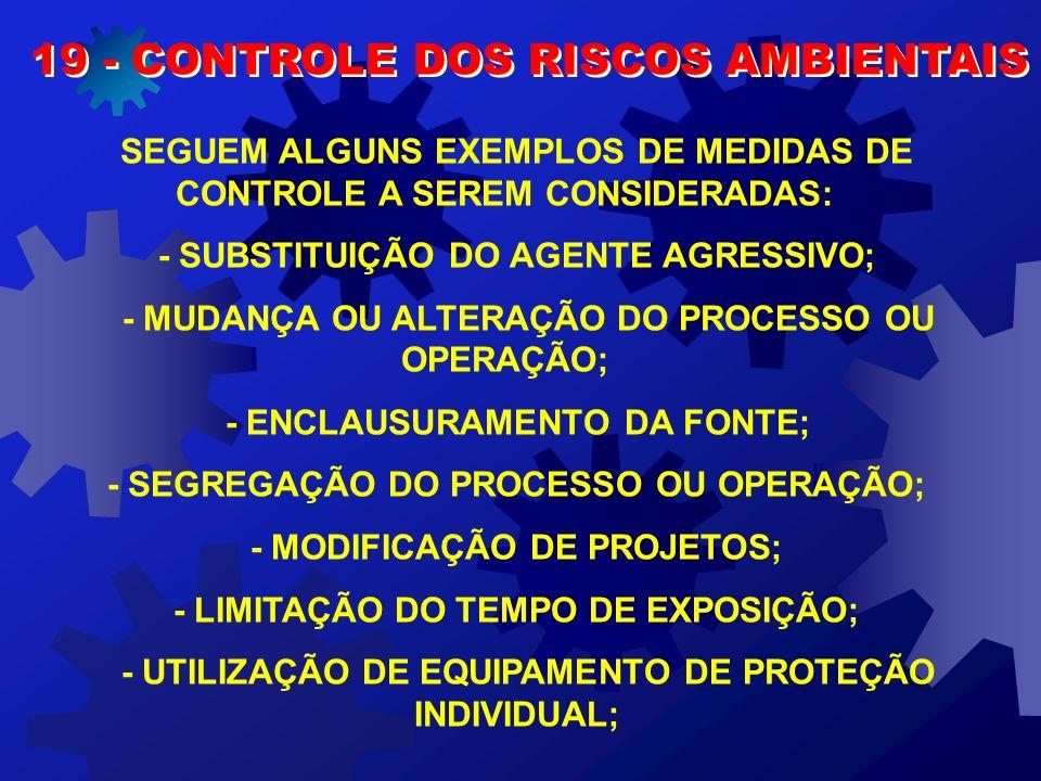 19 - CONTROLE DOS RISCOS AMBIENTAIS