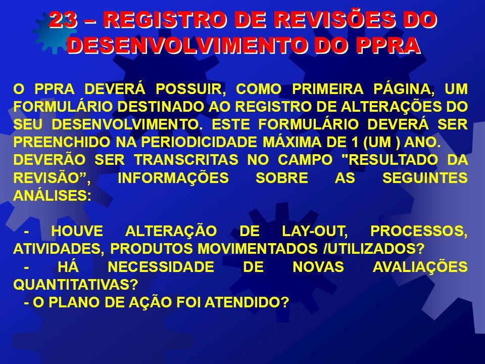 23 – REGISTRO DE REVISÕES DO DESENVOLVIMENTO DO PPRA
