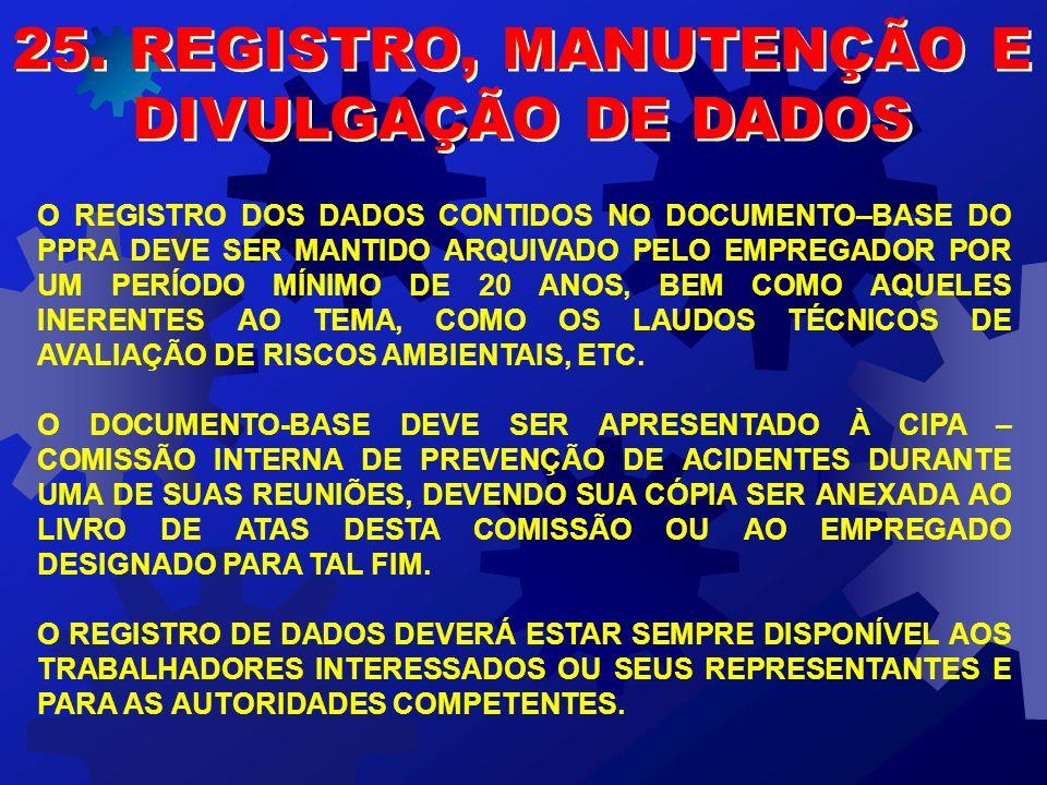 25. REGISTRO, MANUTENÇÃO E DIVULGAÇÃO DE DADOS